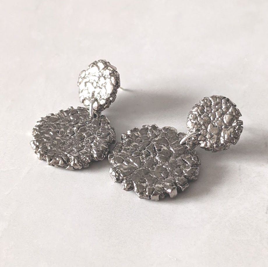 Raw Platinum Drop Earrings | Short