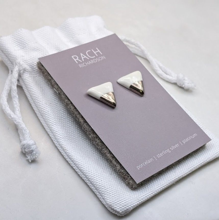 Triangle Dipped Stud Earrings