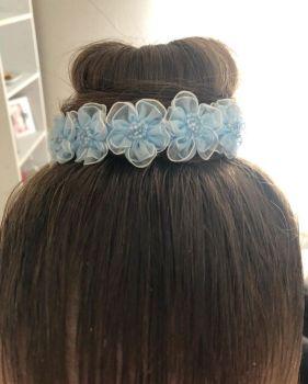 BABY BLUE bun wrap in hair