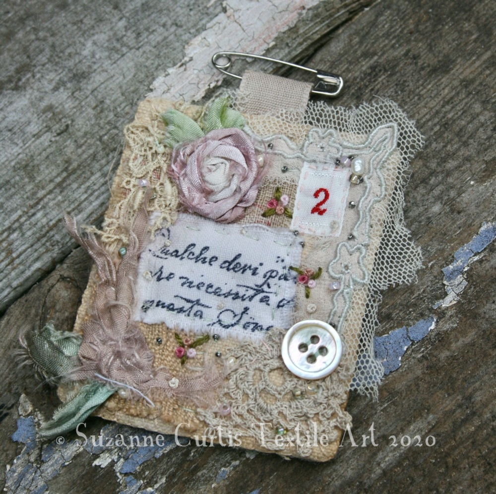 Hand Sewn Textile Brooch