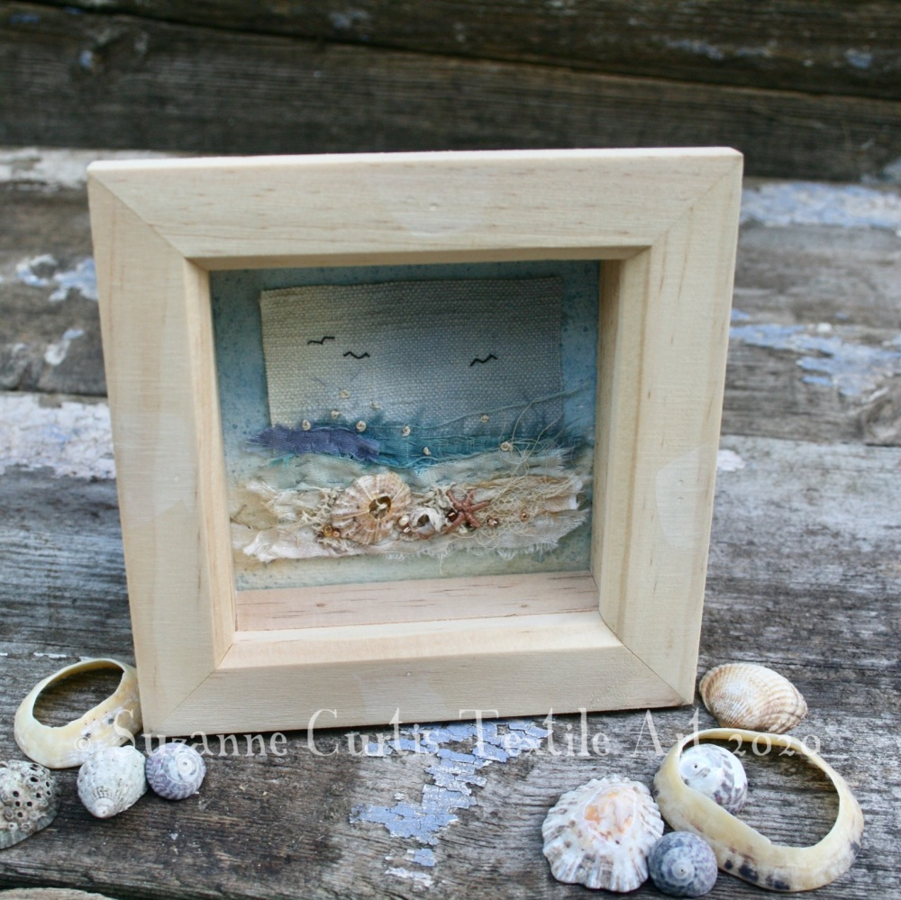 Small Framed Textile Art - Seashore 1