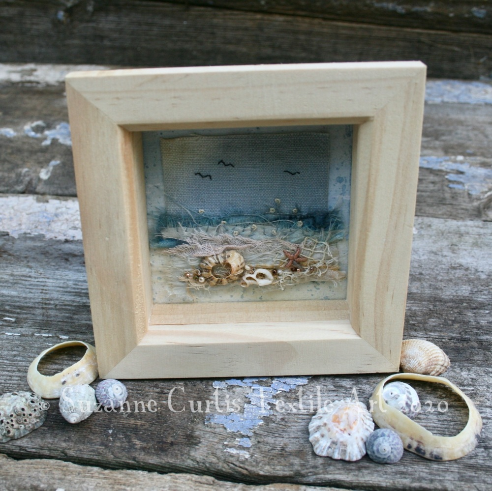 Small Framed Textile Art - Seashore 2