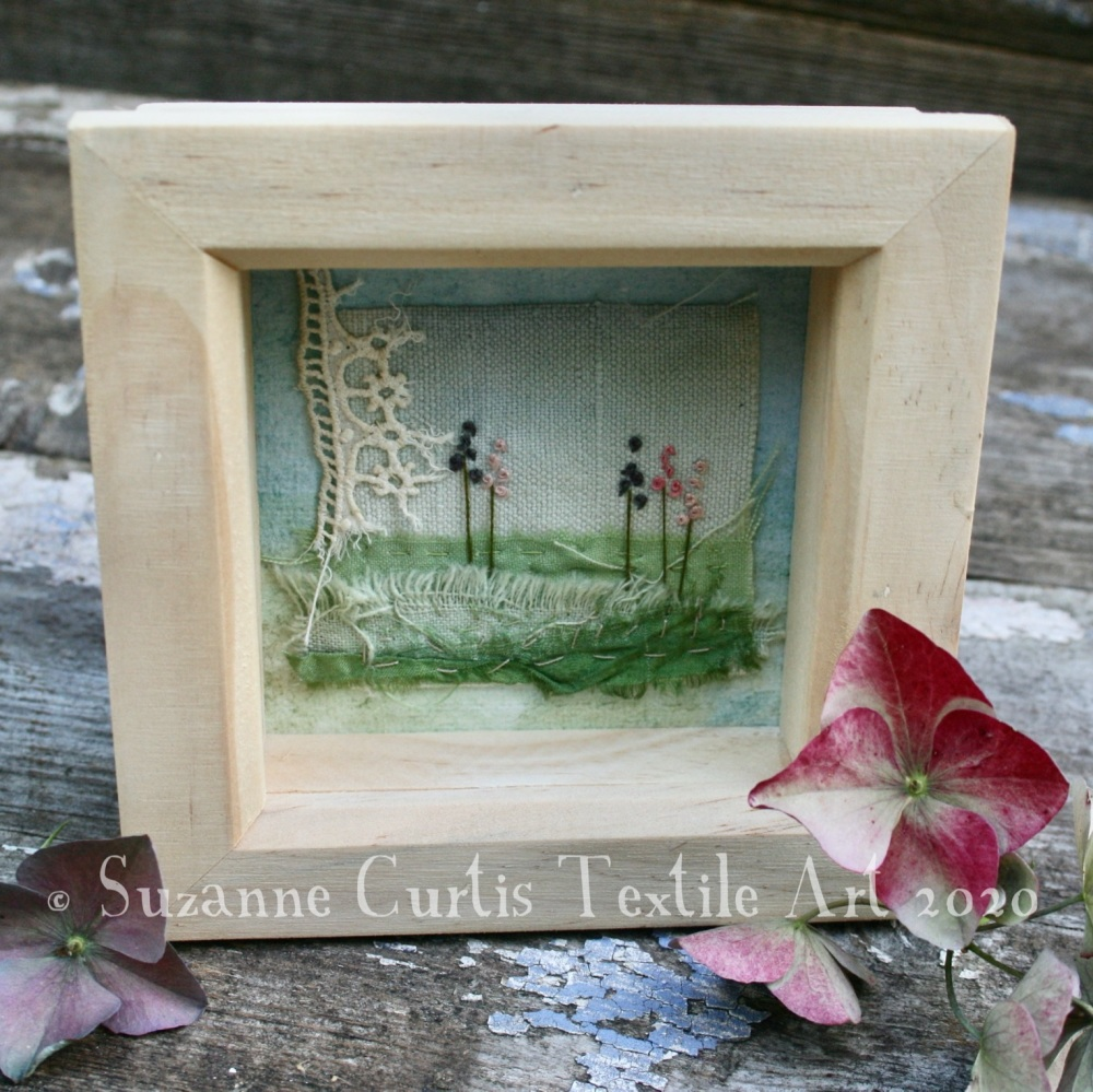 Small Framed Textile Art - Flowers 1
