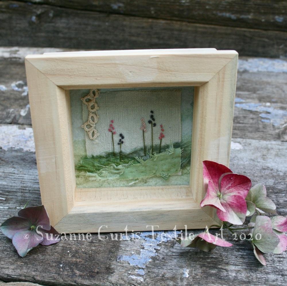 Small Framed Textile Art - Flowers 2