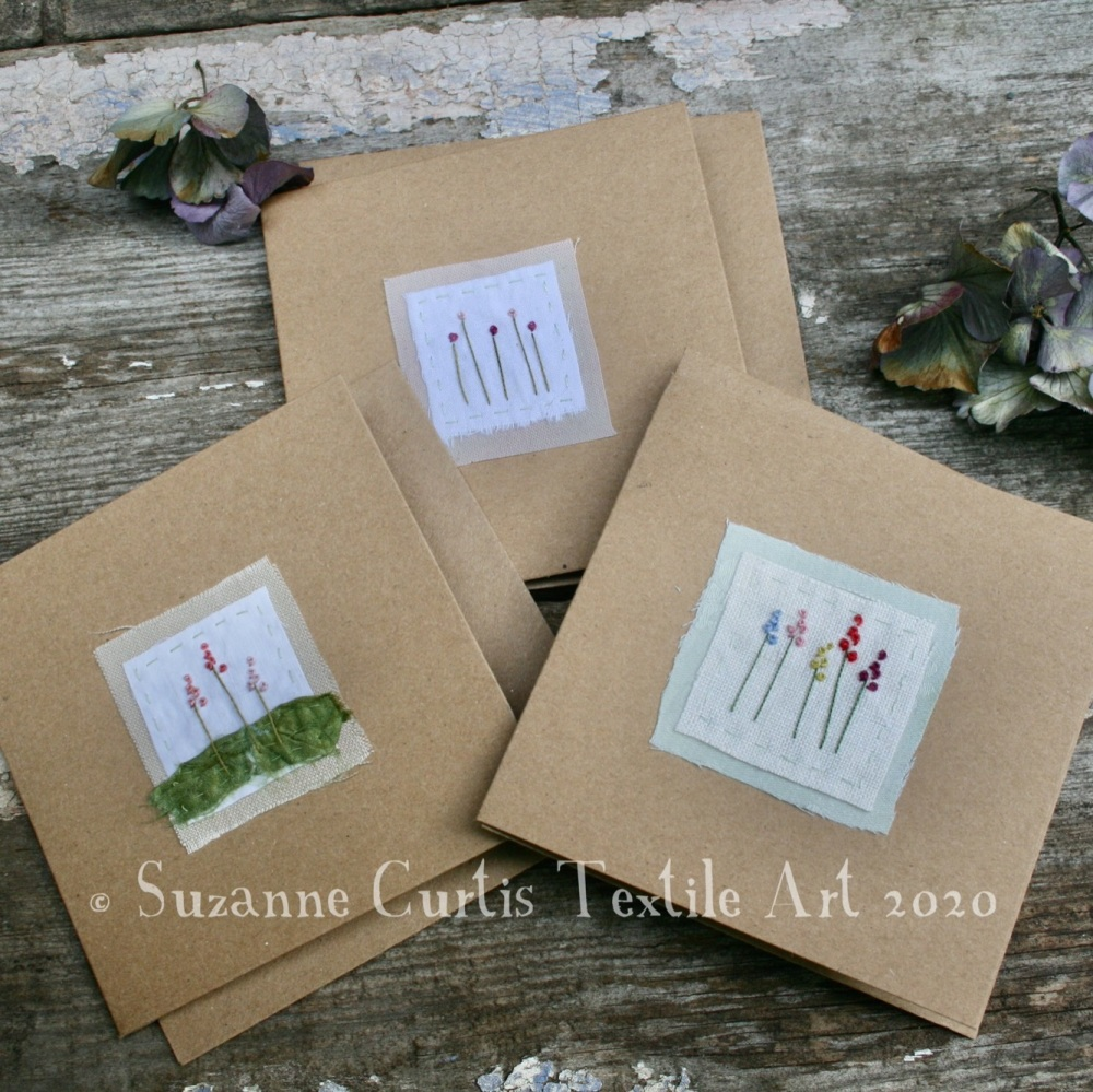 Embroidered Cards - pack of 3 - No 2