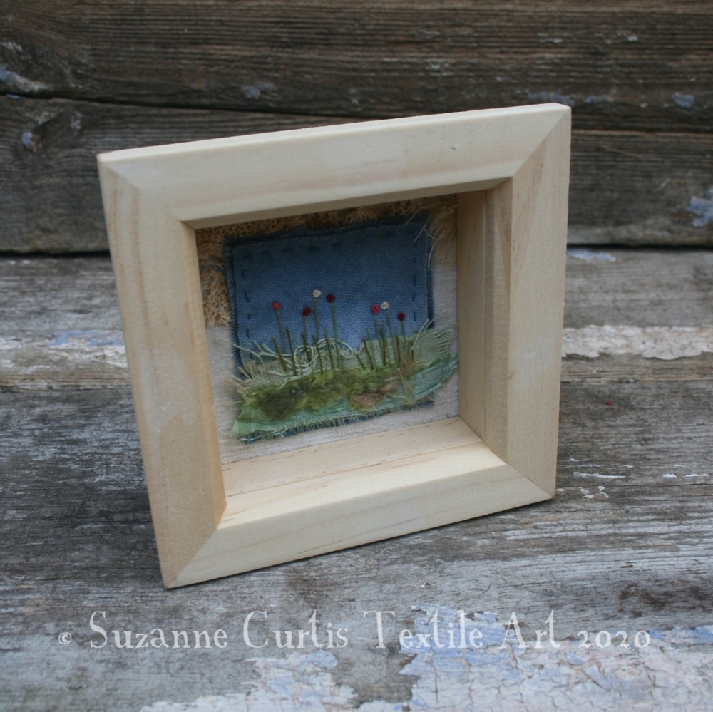Small Framed Textile Art Flowers 03