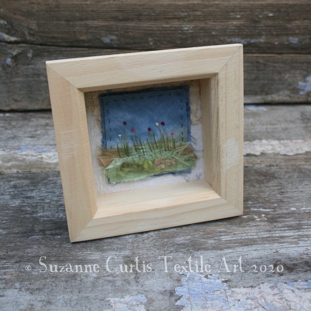 Small Framed Textile Art Flowers 04