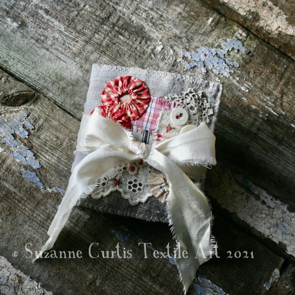Textile Needle Book - Blue/Grey Vintage and Homespun