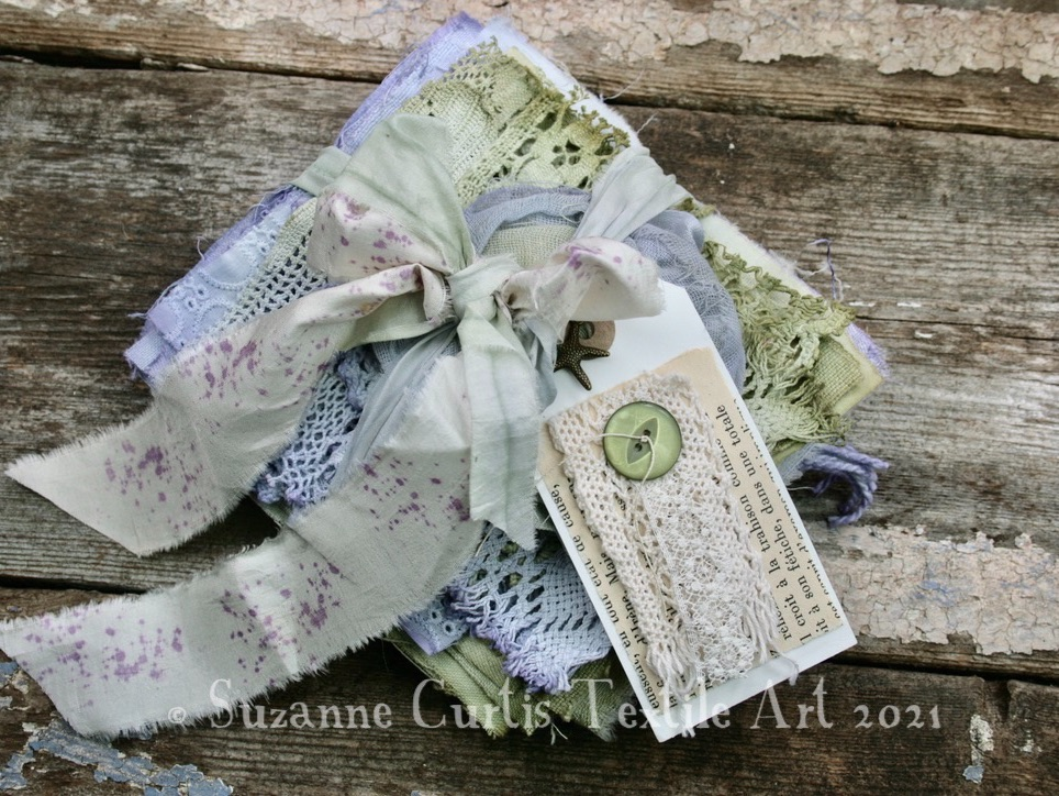 Hand Dyed Textile Bundle - Lilac and Green