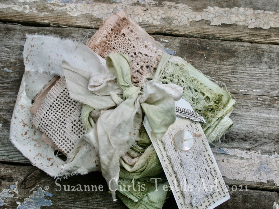 Hand Dyed Textile Bundle - Green and Beige