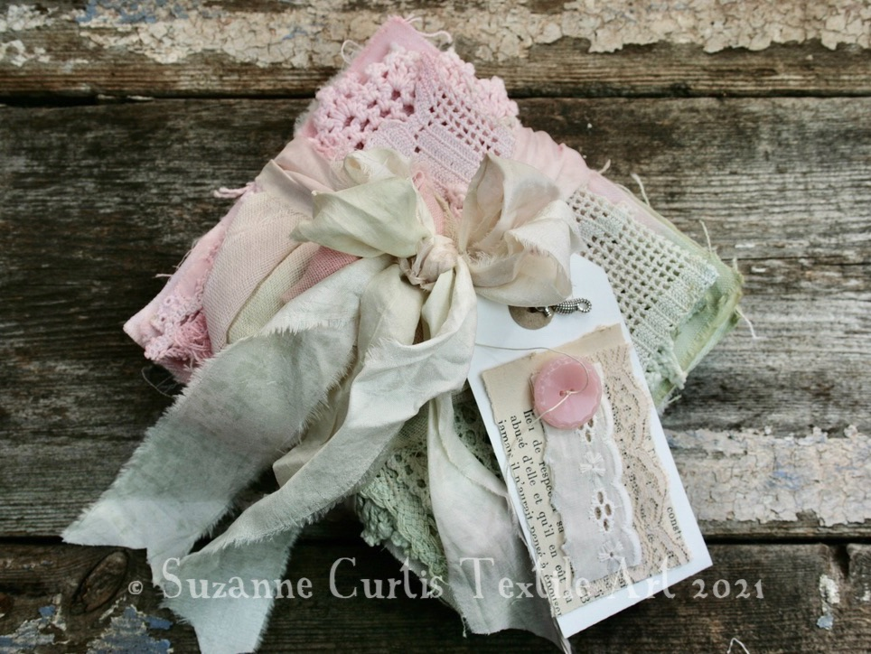 Hand Dyed Textile Bundle - Green and Pink