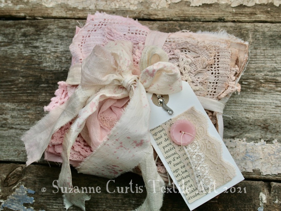 Hand Dyed Textile Bundle - Pink and Beige
