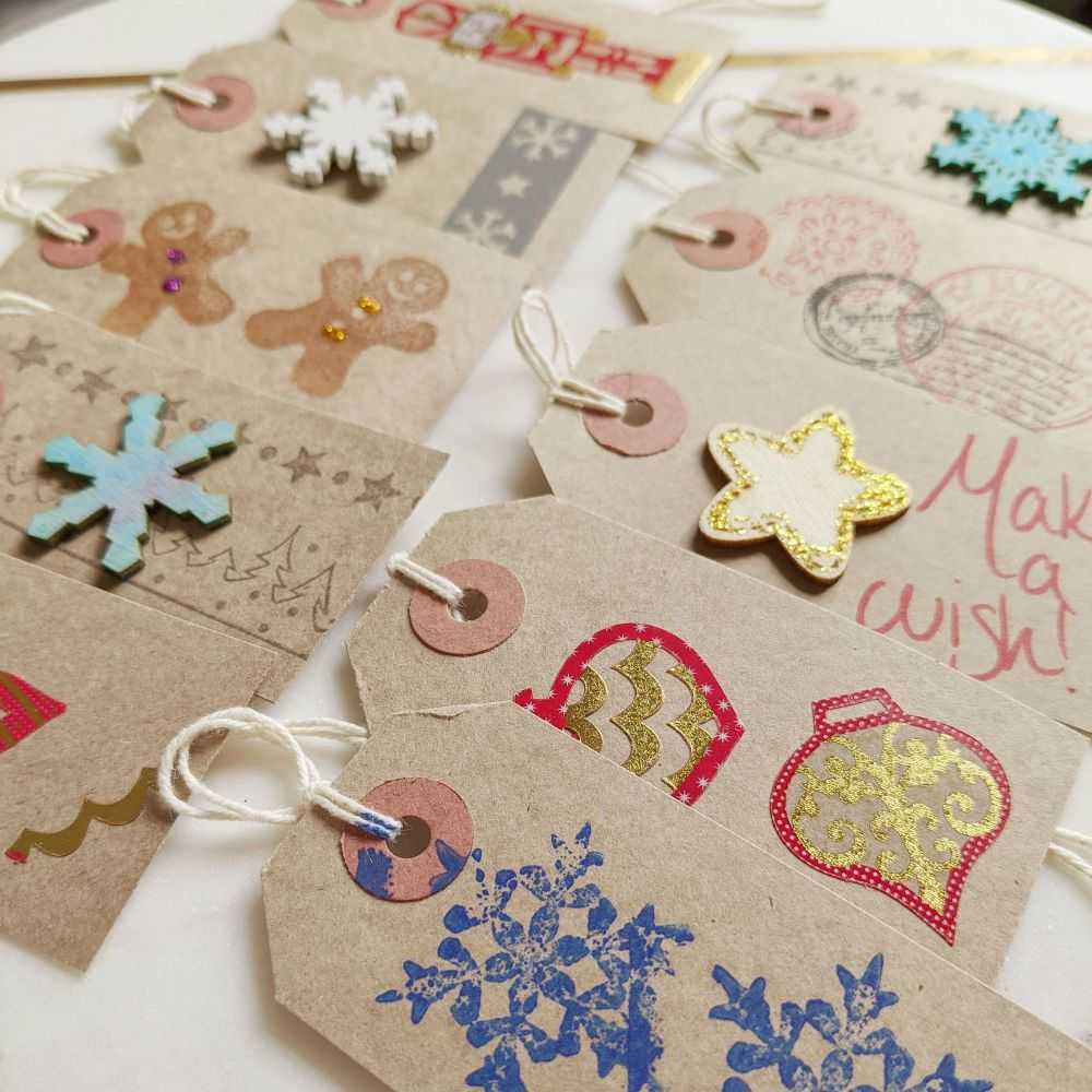 Hand Decorated Christmas gift tags (set of 10)