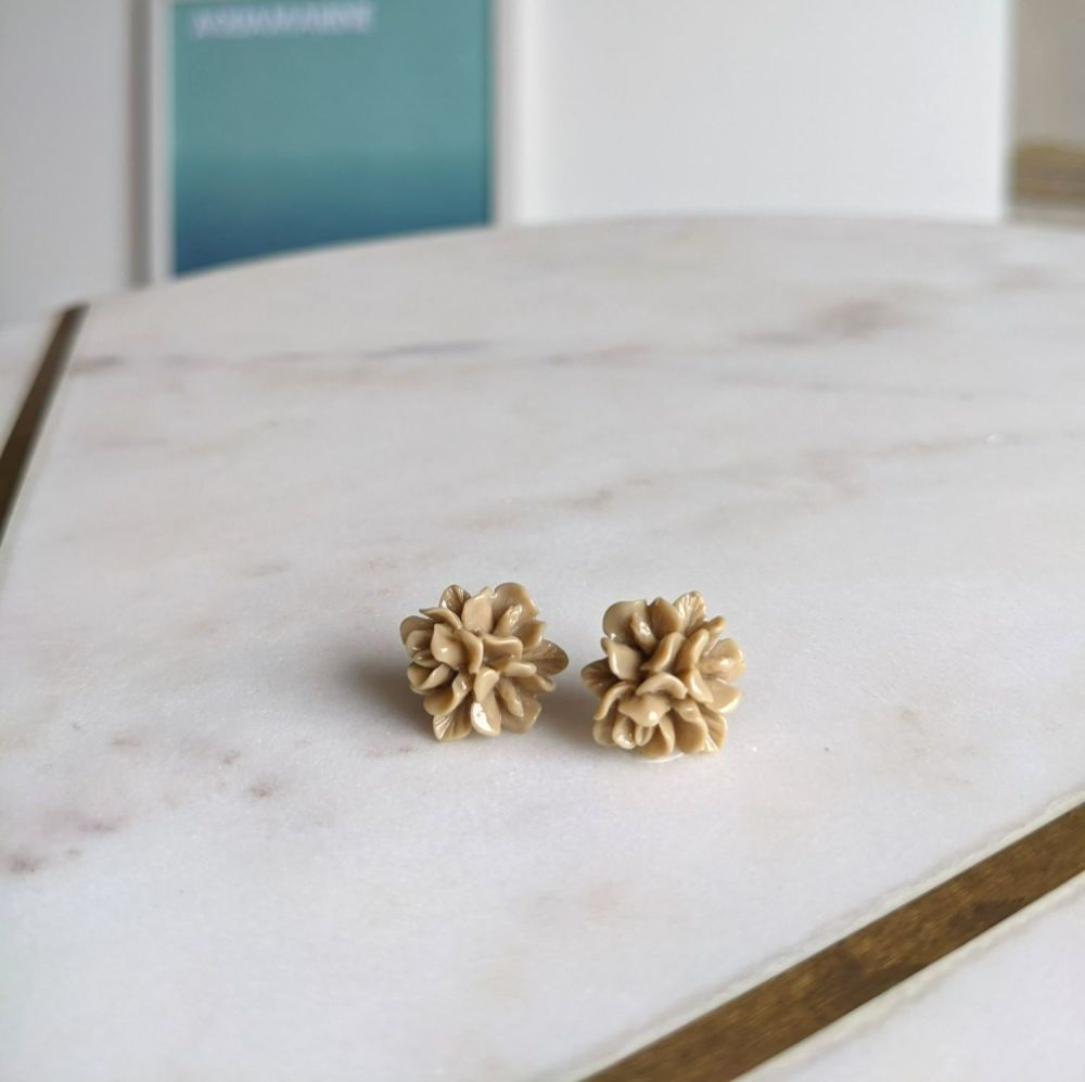 Coffee Flower Stud Earrings