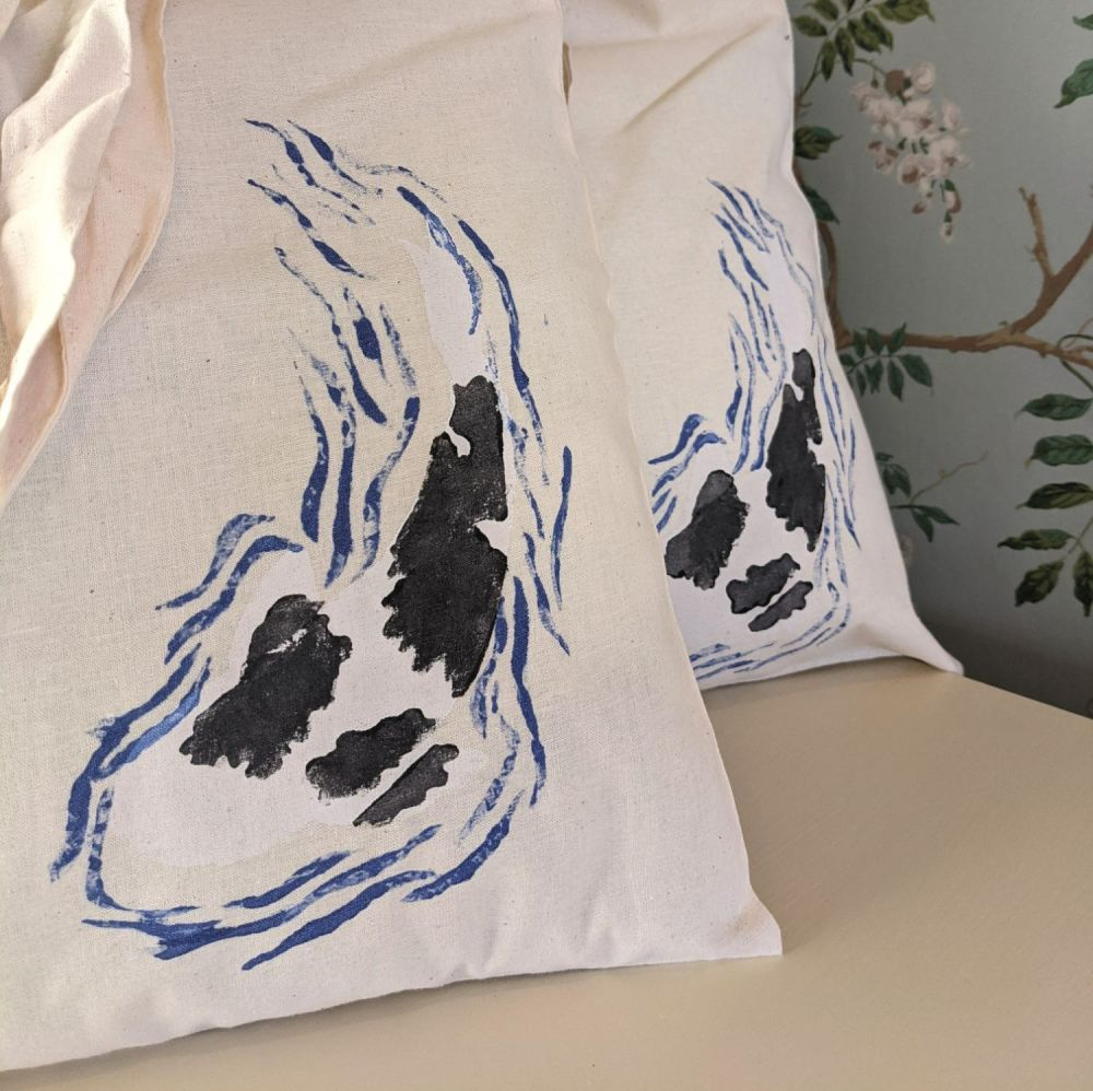 Hand Painted Koi Bag - Shiro Utsuri