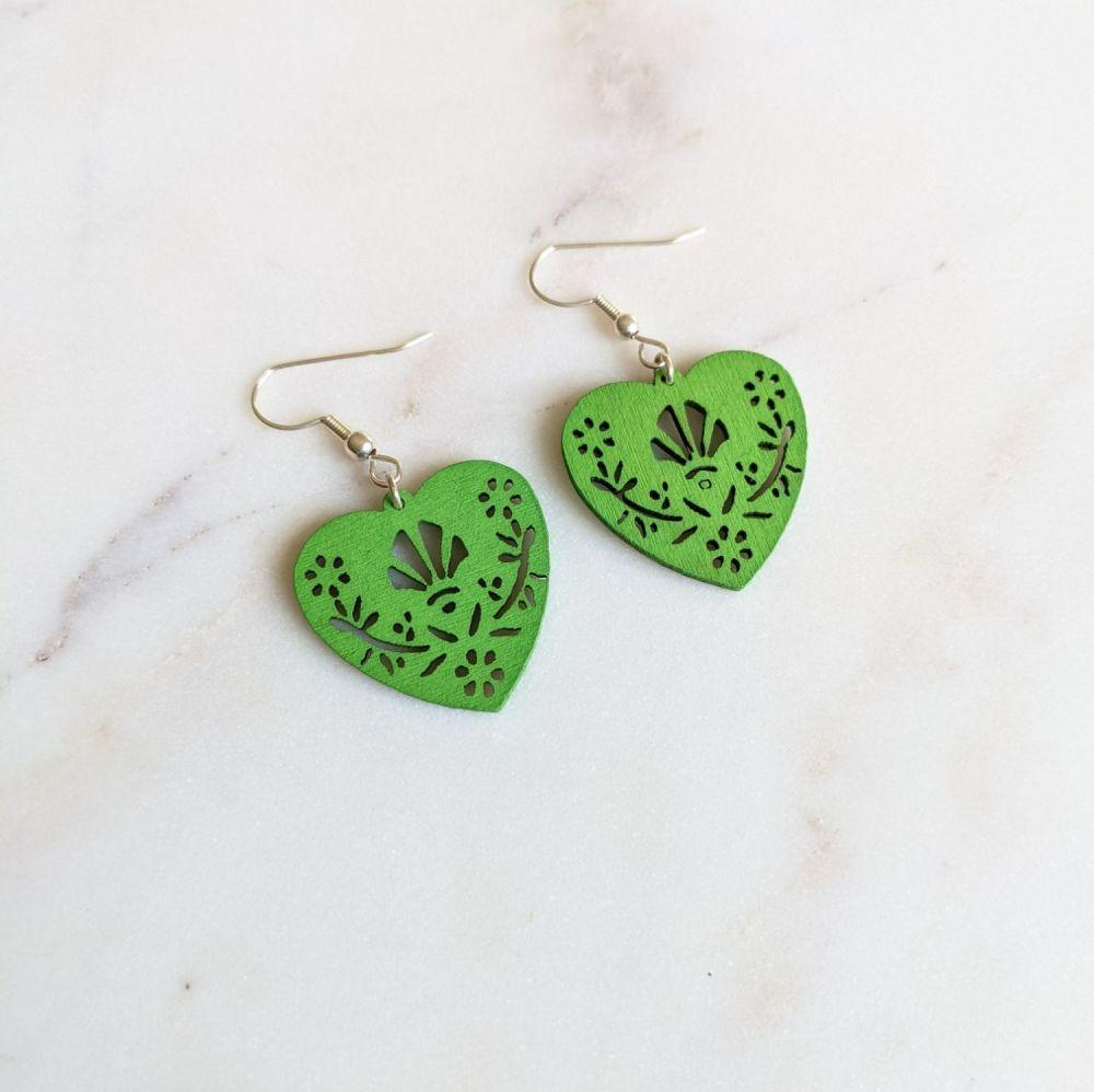 Green Wooden Folk Heart Earrings