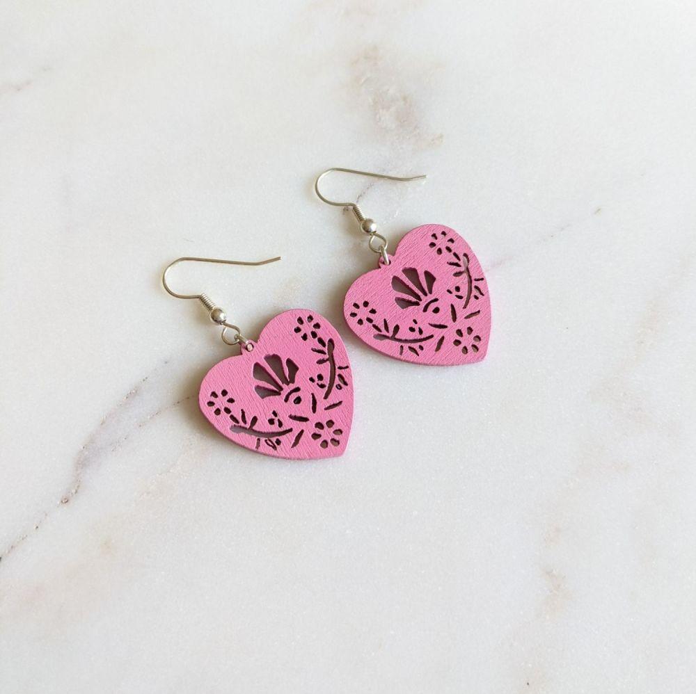 Pink Wooden Folk Heart Earrings