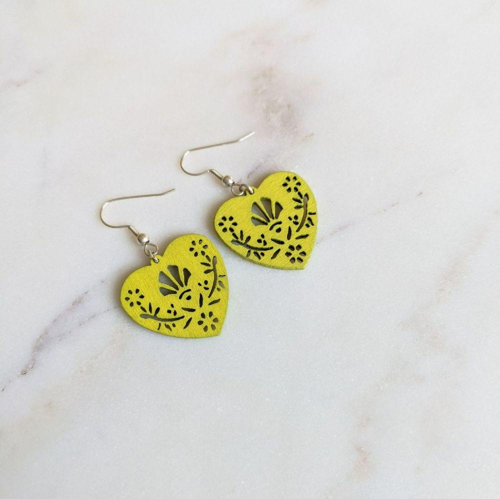 Yellow Wooden Folk Heart Earrings