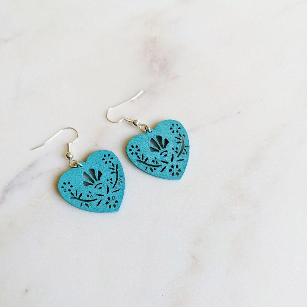 Blue Wooden Folk Heart Earrings
