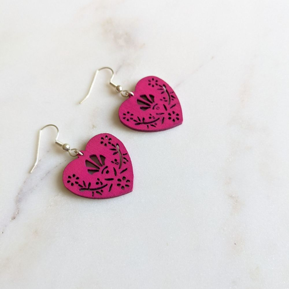 Cerise Wooden Folk Heart Earrings
