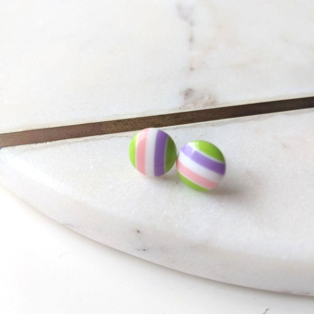 Striped Studs - Purple, White, Pink, Green