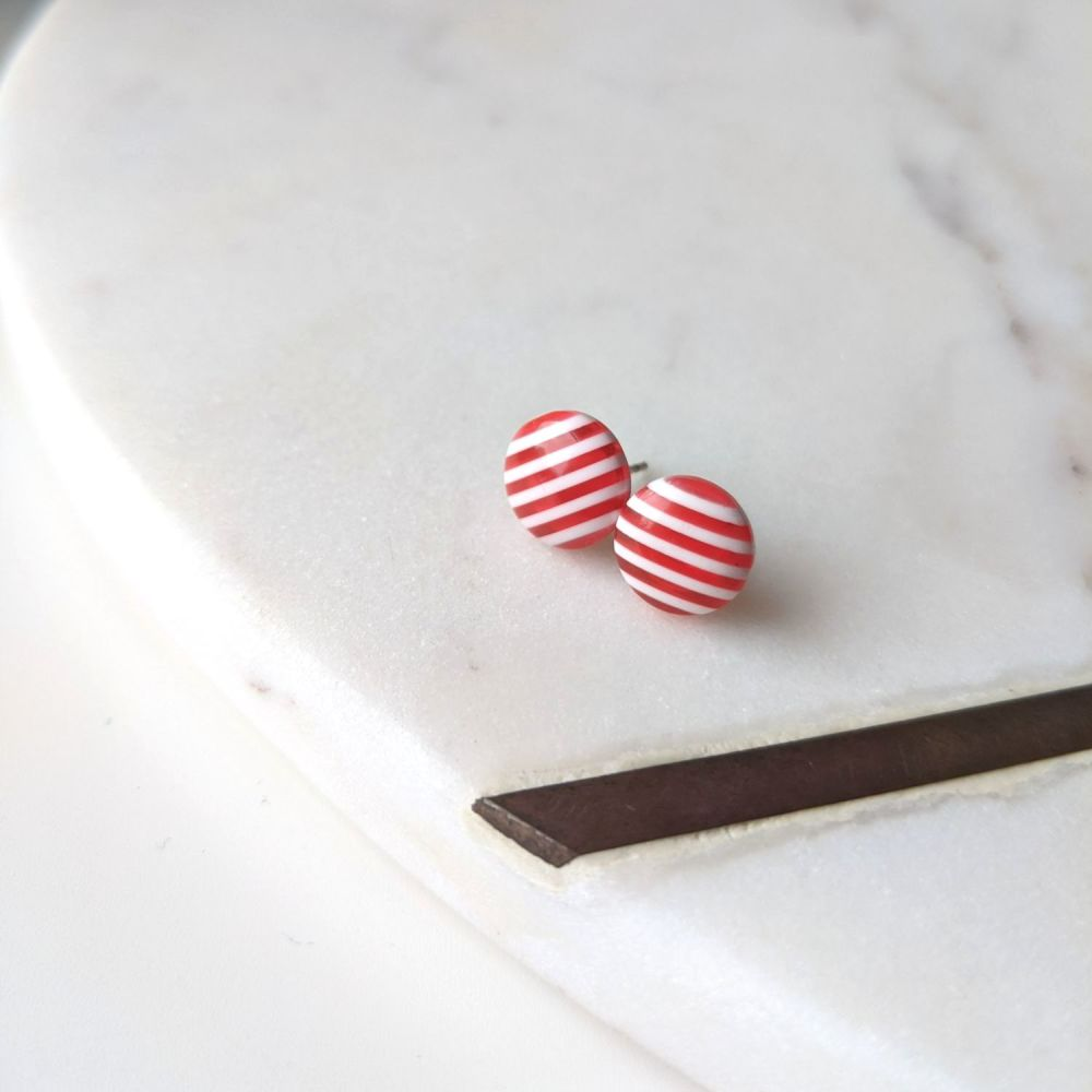 Striped Studs - Red and White