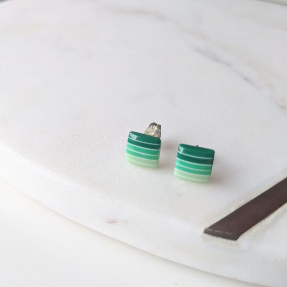 Striped Studs - Green Gradient Squares
