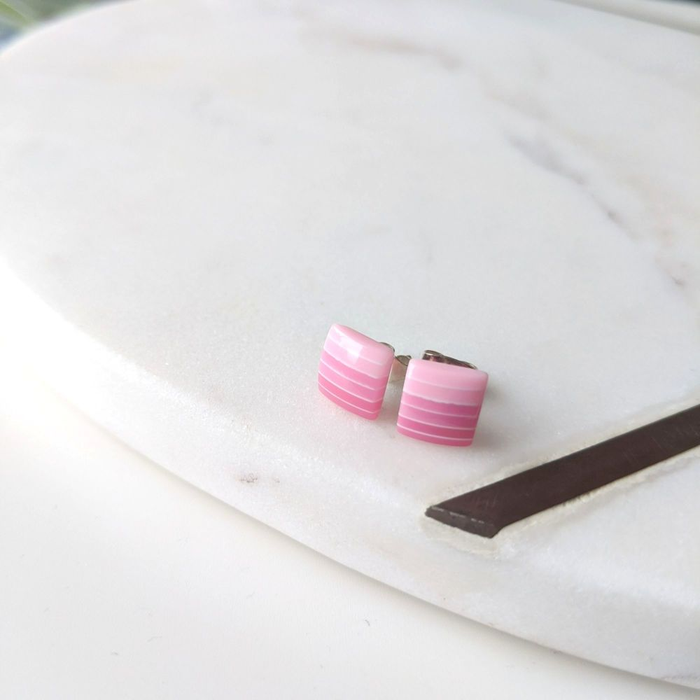 Striped Studs - Pink Gradient Squares