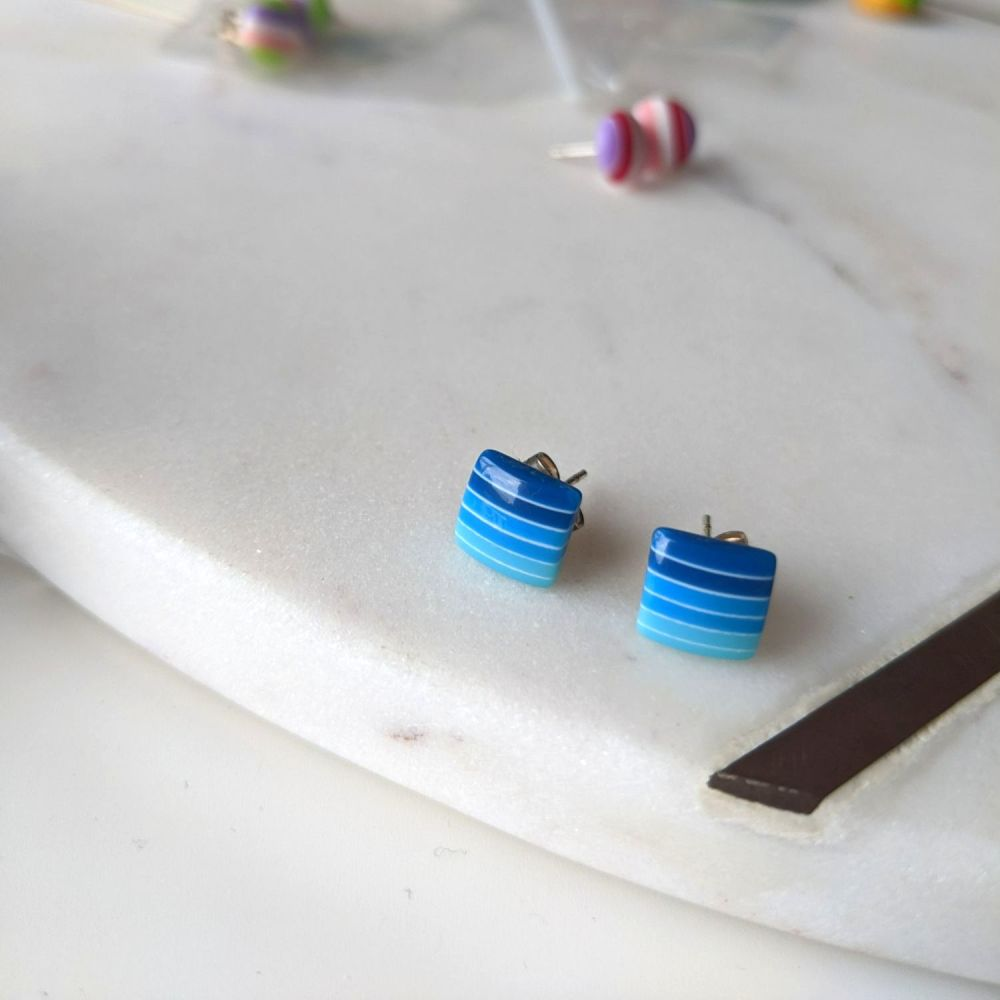 Striped Studs - Blue Gradient Squares