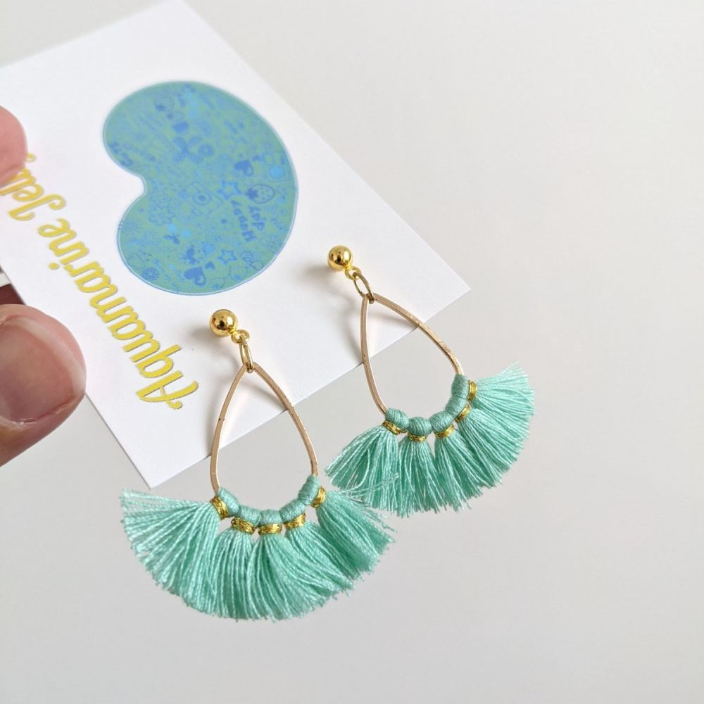 Aqua Festival Fringe Gold Earrings