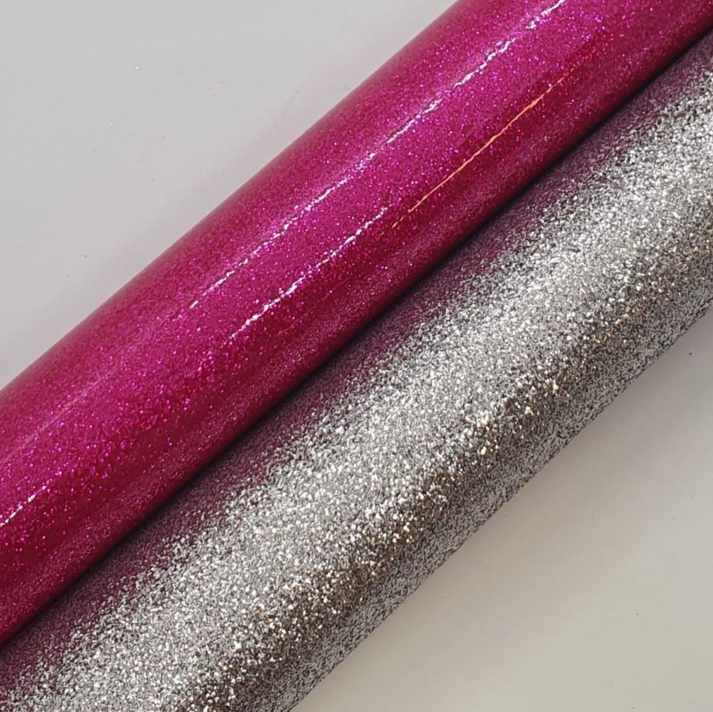 Pink Silver Glitter Double Sided