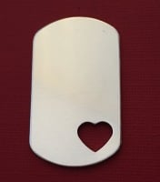 Dog Tag with Small Heart Cut Out 1.2mm NEW STYLE