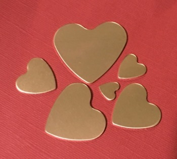 Copper Heart Stamping Blanks 36mm