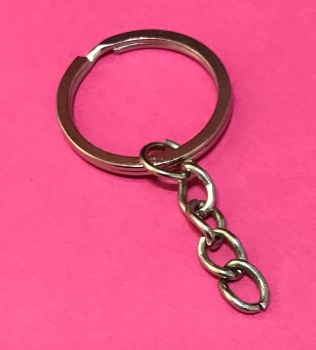 Pack of 10 Stainless Steel Keyrings with Chain