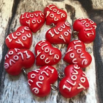 10 Pack I Love You Acrylic Heart Charms