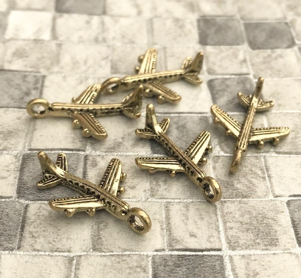 Aeroplane Charms Gold Tone