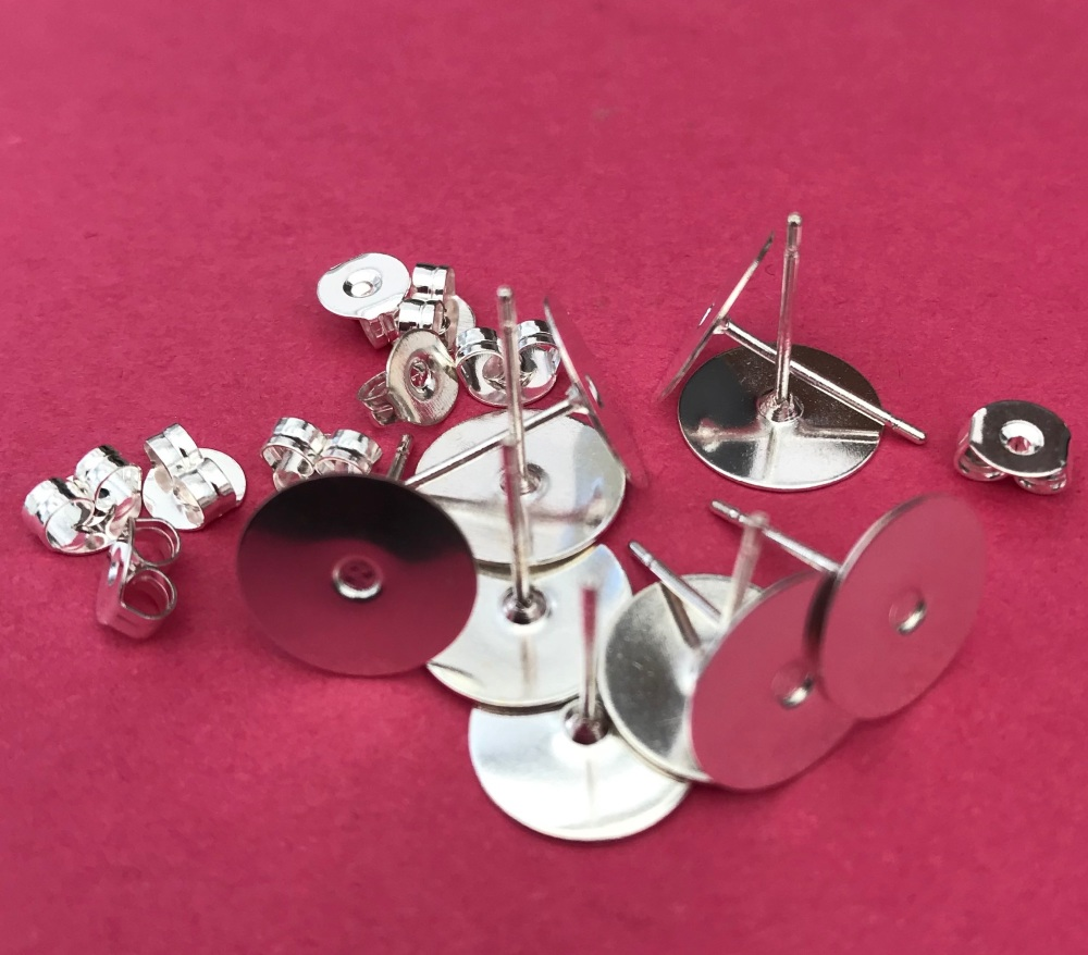 Pack of 10 Ear Studs with Pad Silver Plated