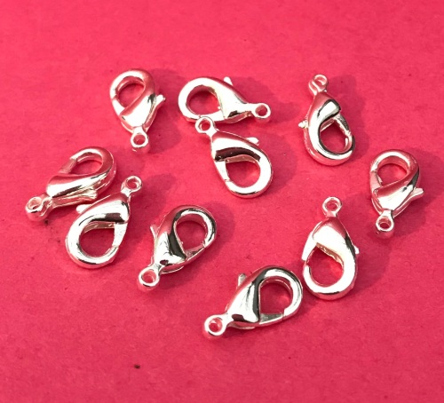 10 Pack Silver Plated 9mm Lobster Claw Clasps
