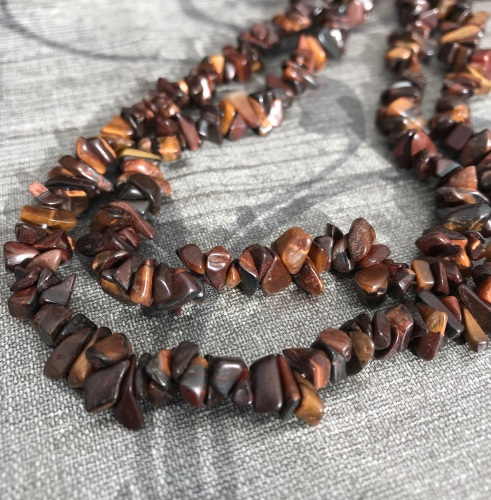 Red Tigers Eye Chip Nugget Beads
