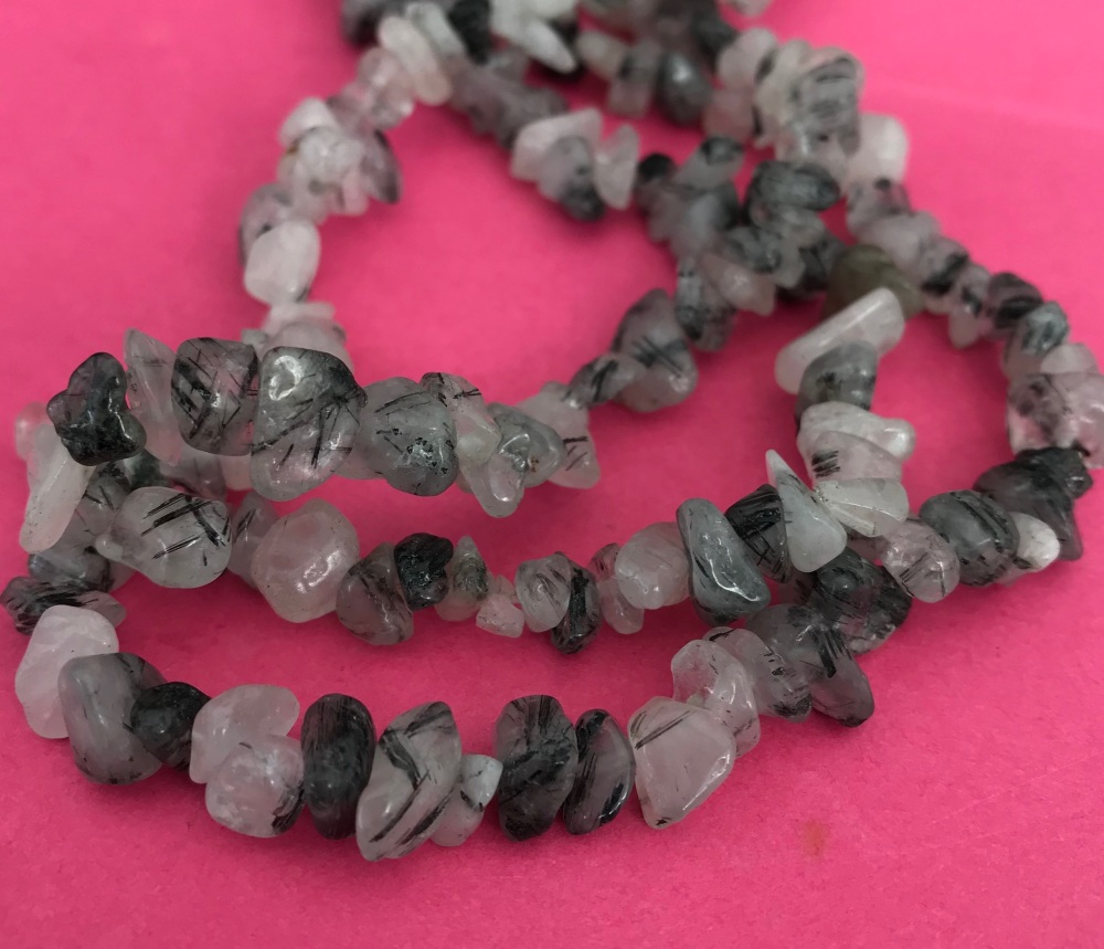 Rutilated Quartz Chip Nugget Beads