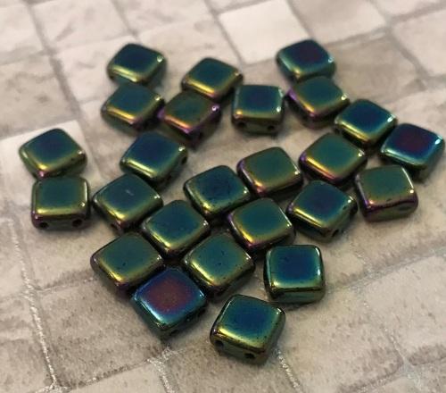 Jet Green Iris CzechMates Tile Beads 25 Pack