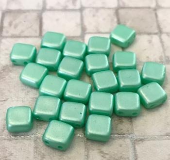 Pastel Light Green CzechMates Tile Beads 25 Pack