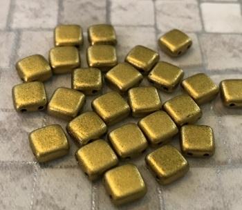 Matte Metallic Aztec CzechMates Tile Beads 25 Pack