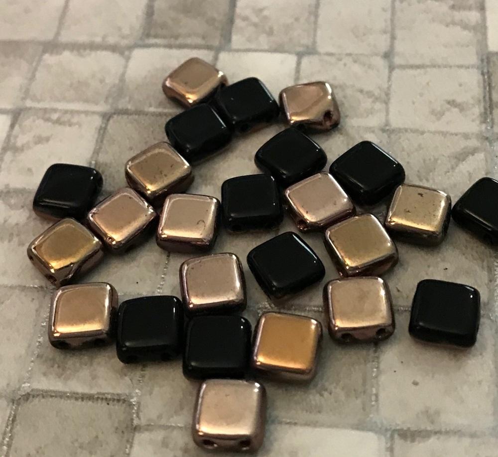 Jet Capri Gold CzechMates Tile Beads 25 Pack