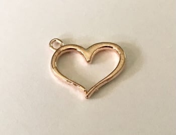 Rose Gold Coloured Heart Charm