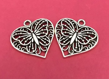 Butterfly Heart Charms