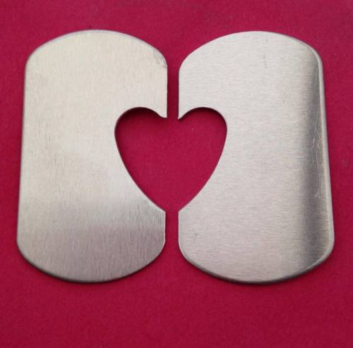 Dog Tag Blanks with 22mm Heart Cut Out