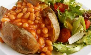 jacket potato with beans and side salad