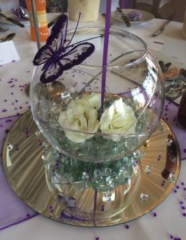 fish bowl purple butterfly