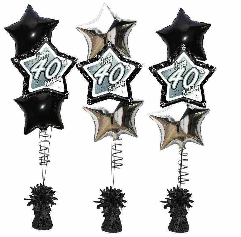 3 X Foil Birthday Balloons BLACK STAR FOIL BOUQET 40th